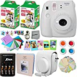 Fujifilm Instax Mini 9 Instant Camera WHITE + INSTAX Film (40 Sheets + Accessories Kit / Bundle + Custom Fitted Case + 4 AA Rechargeable Batteries & Charger + Assorted Frames + Photo Album + MORE