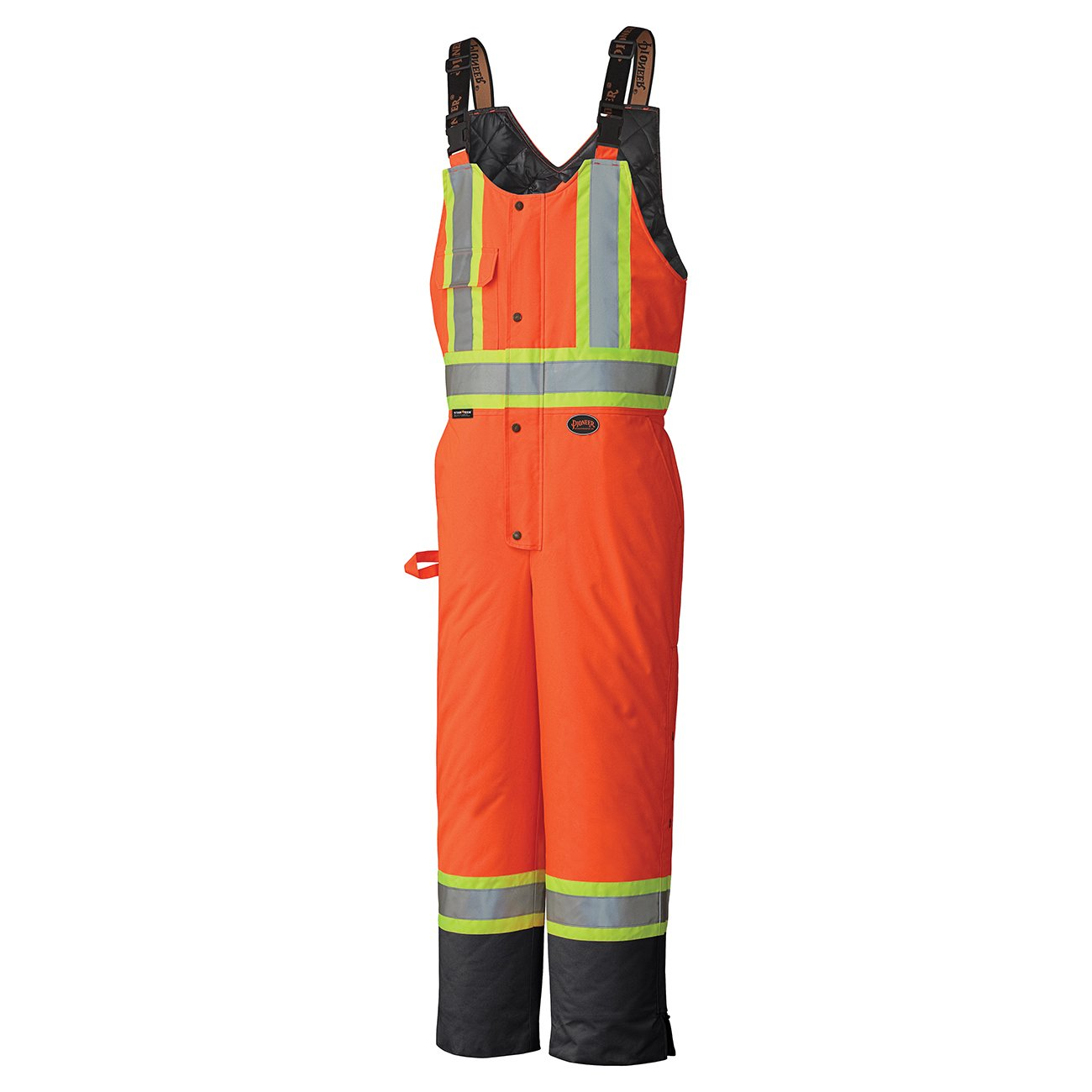 Pioneer V1120870-3XL Insulated Waterproof Work Overall - Easy Boot Access, Hi-Vis Bib Pants, Men, Black, 3XL