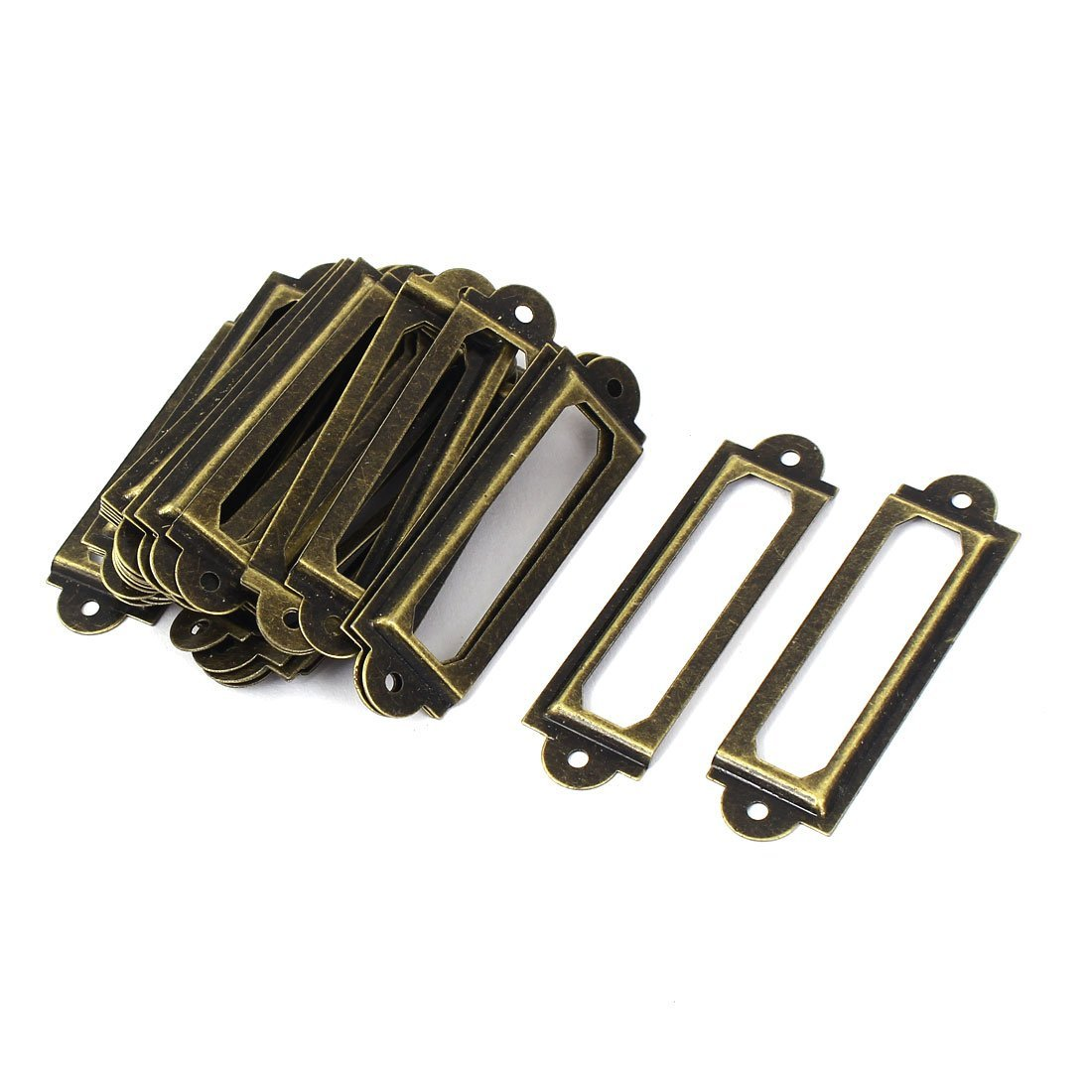uxcell Shelf Cabinet Drawer 60x17mm Label Frames Tag Holder Bronze Tone 30pcs by uxcell