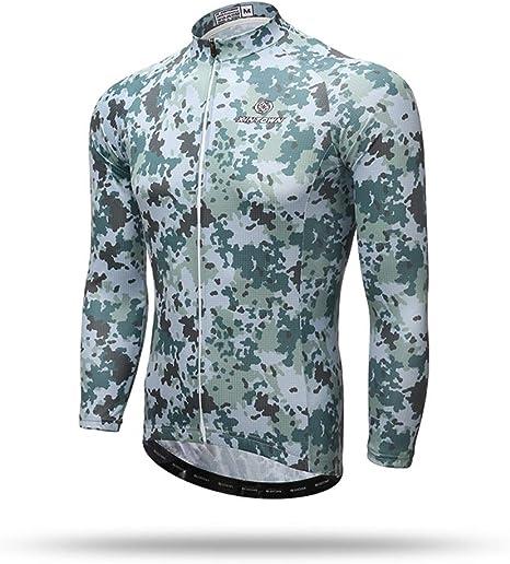 Pinjeer Solo Camisa Verde Camuflaje Estilo Ciclismo Jersey 100% poliéster Ropa Quick Dry Primavera Otoño Equipo Bike Riding Jersey Hombres Camisa de Manga Larga: Amazon.es: Deportes y aire libre