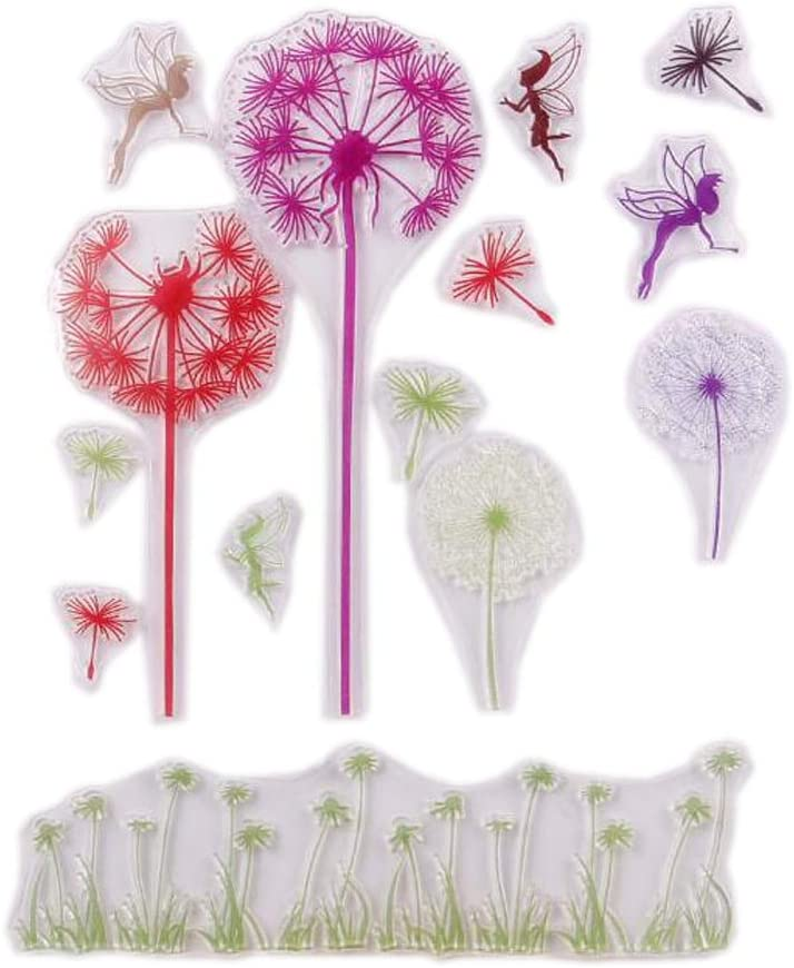 Chengor MENGCORE 1PCS Clear Rubber Stamp Mulitcolor Dandelion Transparent Stamp DIY Scrapbooking/Card Making Decoration Supplies