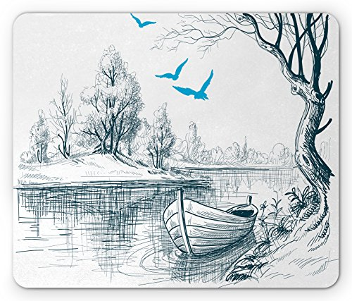 Landscape Mouse Pad by Ambesonne, Boat on Calm River Trees Birds Twigs Sketch Drawing Clipart Water Minimalist, Standard Size Rectangle Non-Slip Rubber Mousepad, White Gray Blue (Clipart Boat)