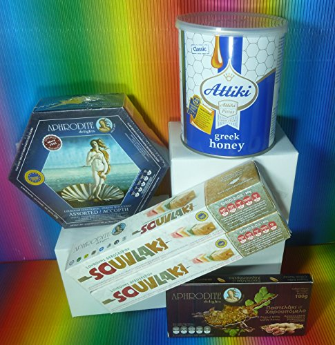 Gift set ATTIKI GREEK HONEY 1 Kg TIN, Aphrodite Assorted Delights 325g , Peanut Brittle 100g & 2 x 80g Aphrodite Delights Souvlaki ,delicious ,fresh Peanut Brittle Tin