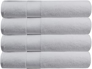 COTTON CRAFT Hotel Luxury Spa Set of 4 Bath Towels, Oversized Ringspun Cotton 700GSM, 30 inch x 58 inch, White