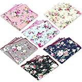 6 Pcs Men's Handkerchiefs Cotton Floral Pocket Squares for Men Ladies Hankies