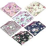 6 Pcs Men's Handkerchiefs Cotton Floral Pocket Squares for Men Ladies Hankies