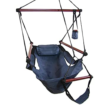 sunnydaze deluxe hanging hammock air chair with pillow and drink holder solid wood bars amazon    sunnydaze deluxe hanging hammock air chair with pillow      rh   amazon