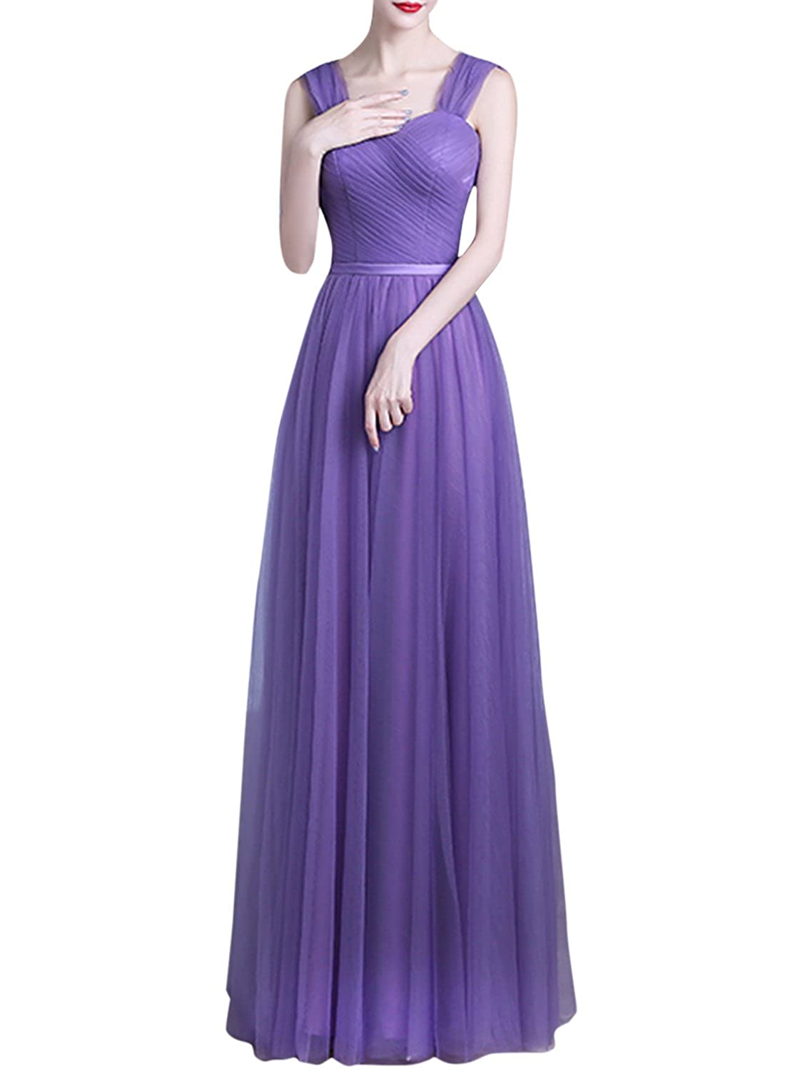 Azbro Women's Elegant Solid Color Mesh Prom Dress