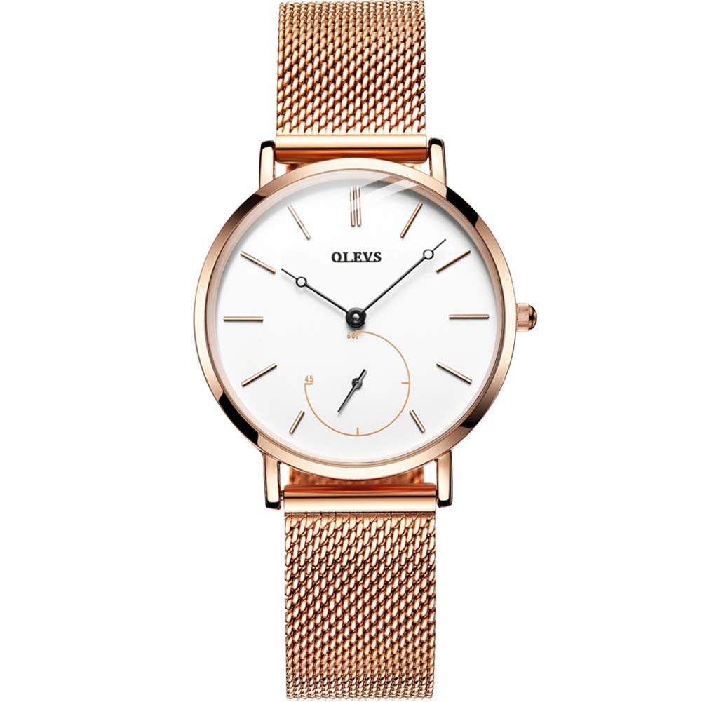 OLEVS Watches for Women Waterproof Ultra-Thin Fashion Dress Quartz Rose Gold Strap Quartz Analog Watch Ladies Wrist Watch