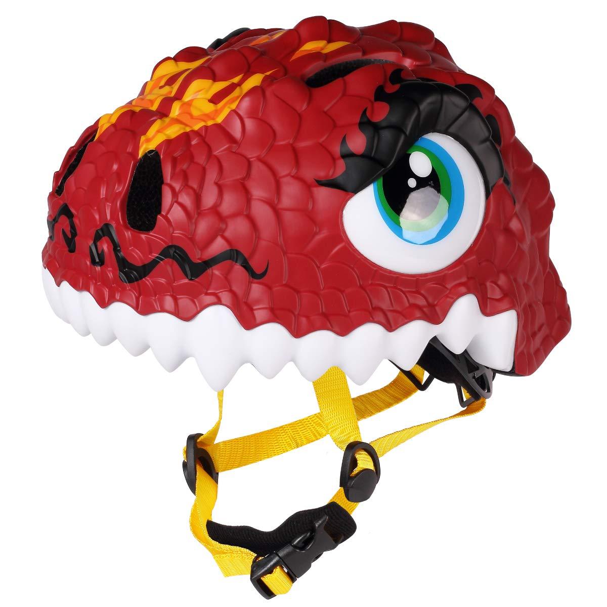 M Merkapa Kids Bike Helmet Adjustable 3D Shark Bicycle Helmets for Toddler and Youth (Dinosaur)