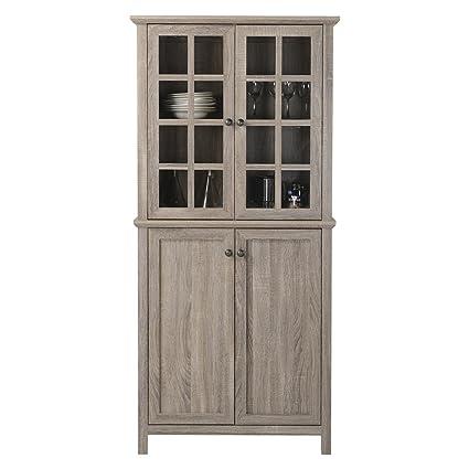Amazon 6 Shelf Wood Storage Cabinet With Tempered Glass Doors