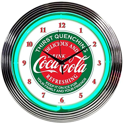Neonetics Drinks Coca Cola Evergreen Neon Wall Clock, 15-Inch Coke Clock