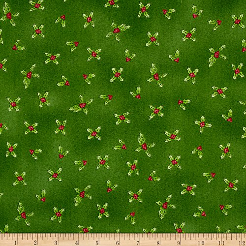 Gingerbread Christmas Holly Green Fabric By The Yard