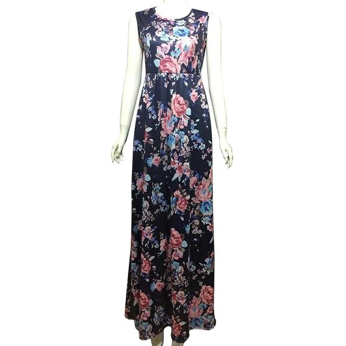 Overdose Vestido Largo Sin Mangas con Estampado Floral Y Estampado De Mujer CóModa con Bolsillos De La Mujer Azul: Amazon.es: Ropa y accesorios