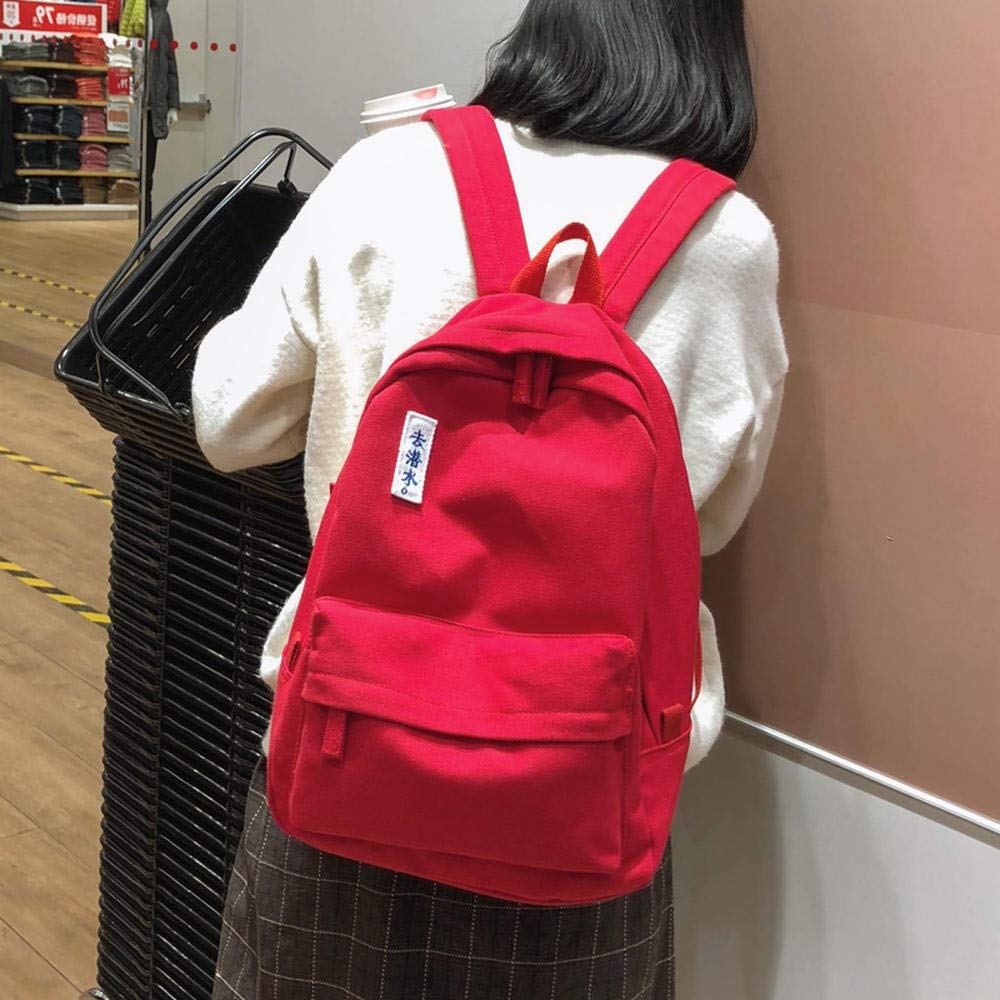 Red Ai Luo Gete Ancient sense bag female Korean version of the college wind canvas junior high school high school birthday Han Feng Fan early small college students simple ins backpack campus tide black