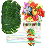 Frienda 148 Pieces Luau Themed Party Decorations, 24 Pieces Tropical Palm Leaves, 24 Pieces Hawaiian Flowers, 50 Pieces Mixed Color Umbrellas and 50 Pieces Colorful 3D Fruit Straws