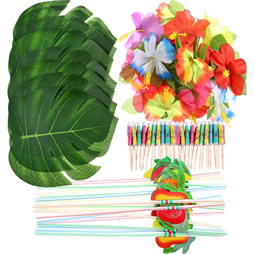 Frienda 148 Pieces Luau Themed Party Decorations, 24 Pieces Tropical Palm Leaves, 24 Pieces Hawaiian Flowers, 50 Pieces Mixed Color Umbrellas and 50 Pieces Colorful 3D Fruit Straws for $<!--$11.99-->