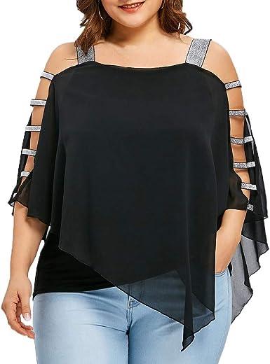 ReooLy - Camiseta de Mujer Top Fashion Large Size Trapezoidal Top Sobrepuesto Camisa asimétrica sin Tirantes