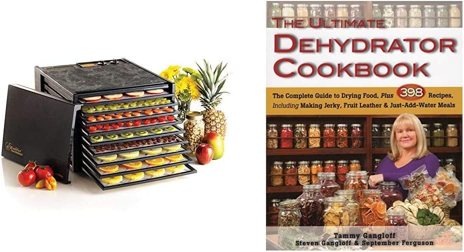 Excalibur 3926TB 9-Tray Electric Food Dehydrator with Temperature Settings, 9-Tray, Black & The Ultimate Dehydrator Cookbook: The Complete Guide to Drying Food, Plus 398 Recipes