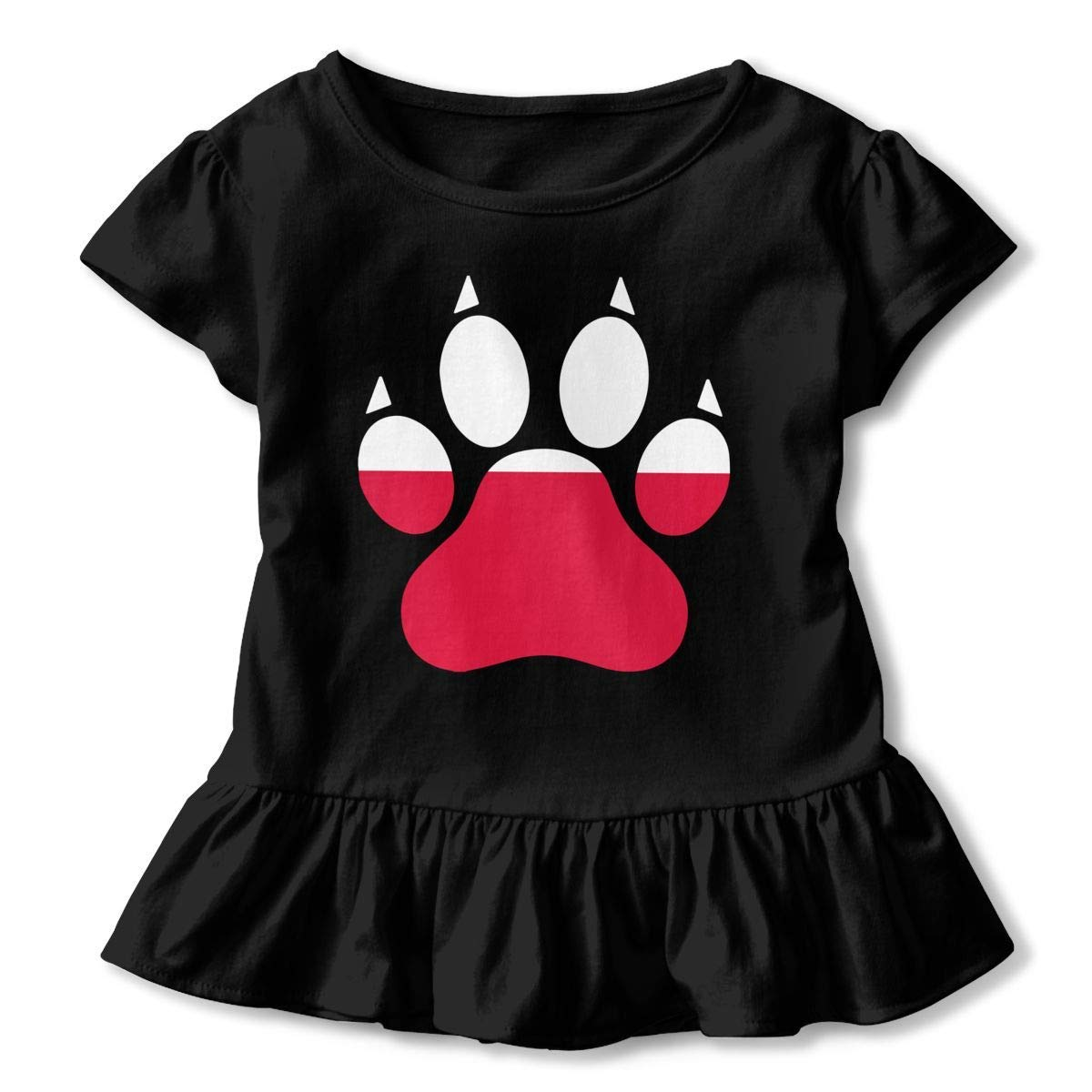 Short Sleeve Poland Flag Dog Paw T-Shirts for Girls Kawaii Sweatshirt with Falbala 2-6T