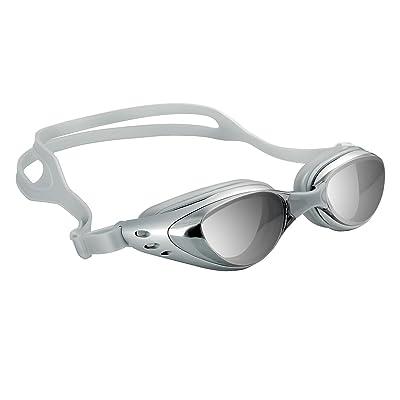 Lunettes de Natation de Piscine Anti-UV Anti-Buée Pour Adulte Homme Femme Sport, Argenté (Silver)