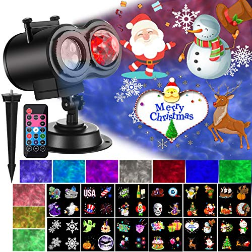 Ocean Wave Christmas Projector Lights 2-in-1 Moving Patterns with Ocean Wave LED Landscape Lights Waterproof Outdoor Indoor Xmas Theme Party Yard Garden Decorations, 12 Slides 10 Colors ()