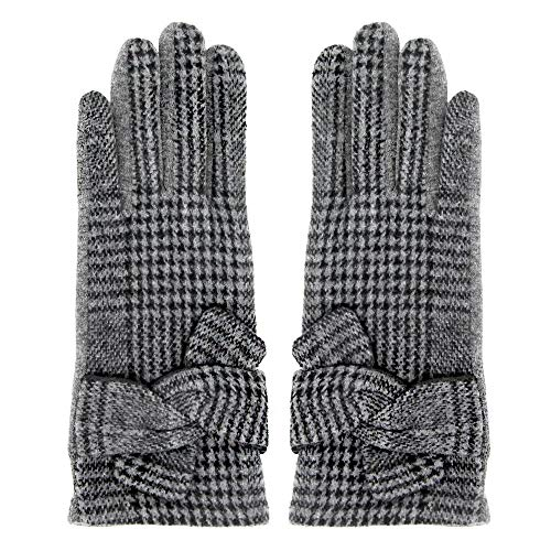 - Me Plus Women Winter Gloves Touch Screen Thick Warm Plaid Pattern Gloves With Bow (Plaid W/Knot-Grey)