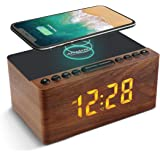 ANJANK Wooden Digital Alarm Clock FM Radio,10W Fast Wireless Charger Station for iPhone/Samsung Galaxy,5 Level Dimmer,USB Cha
