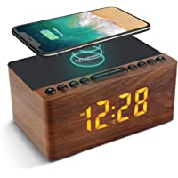 ANJANK Wooden Digital Alarm Clock FM Radio,10W Fast Wireless Charger Station for iPhone/Samsung Galaxy,5 Level Dimmer…