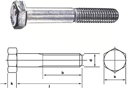 25 Stk Sechskantschraube mit Schaft DIN 931 8.8 M18 x 100 verzinkt