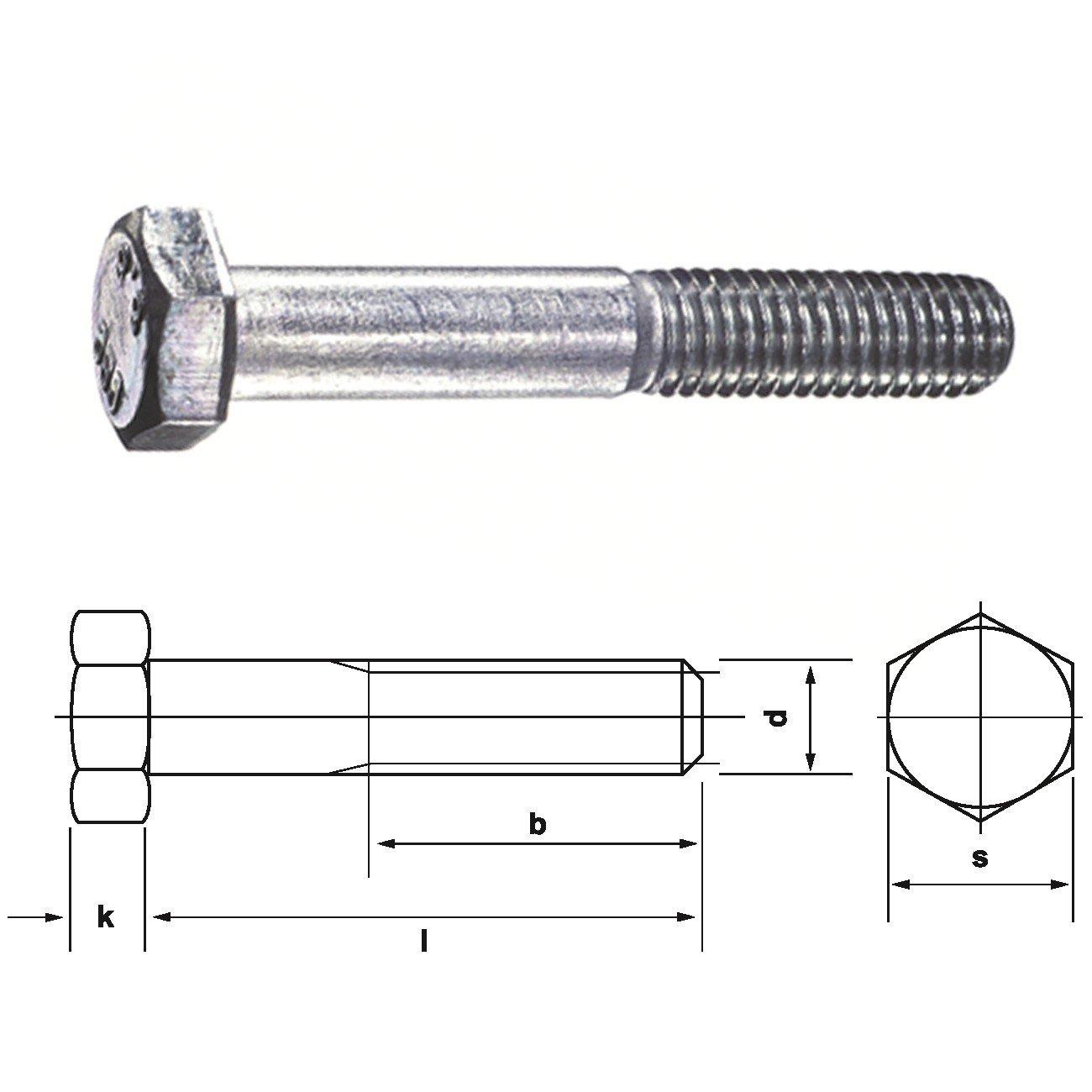 MS filetage DIN 931 0//0202//001//10,0//50// //01 Vis hexagonales avec la tige 8,8