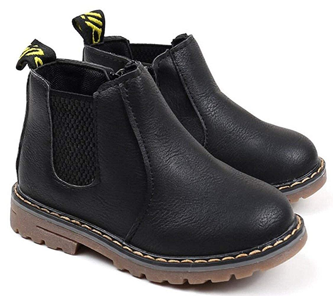 MOREMOO Boys Girls Waterproof Side Zipper Short Ankle Winter Snow Boots