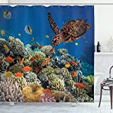 Ambesonne Ocean Decor Collection, Colorful Fishes and Old Turtle Coral Reefs Dahab Red Egyptian Sea Picture, Polyester Fabric Bathroom Shower Curtain Set, Blue Orange Yellow