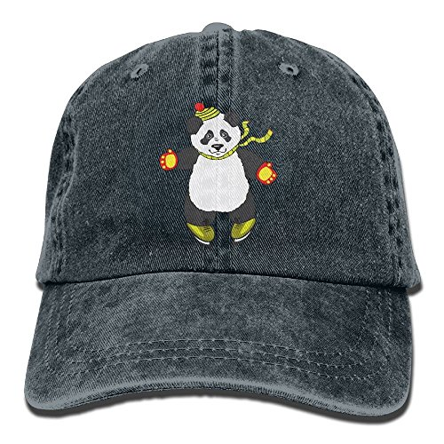 Ice Skating Clipart - Men Women Panda Clipart Ice Skating Adjustable Jeans Baseball Cap Trucker Hat