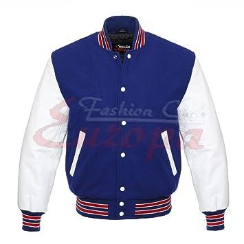 Pour homme Varsity Cuir véritable laine Letterman Veste Bleu W cuir Blanc  manches Regular b201f2ceaf75
