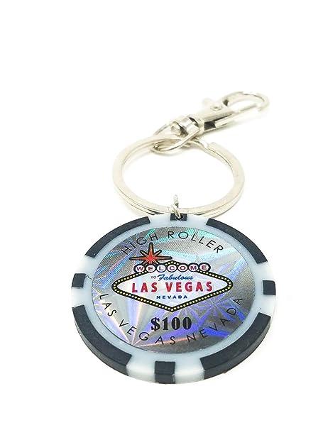 Amazon.com: $100 Las Vegas Poker Chip llavero (negro): Clothing
