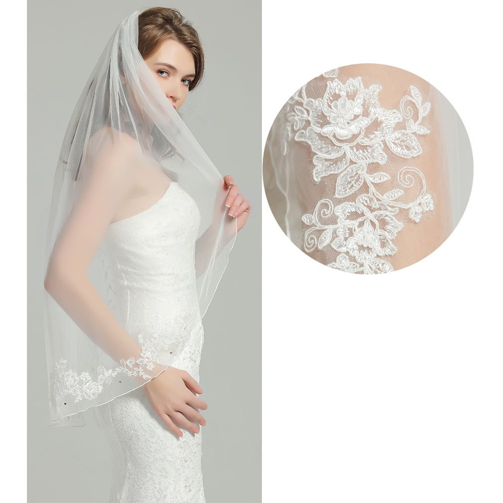 Wedding Bridal Veil with Comb 1 Tier Pencil Lace Applique Edge Fingertip Length 40'' V81 Ivory