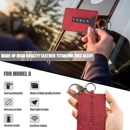 Yaootely Schlüssel Karten Halter Für Tesla Model 3 Anti Staub Leder Mit Schlüssel Bund Für Tesla Model 3 Zubeh R Schwarz Küche Haushalt