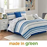 Wonder Home 7 Piece Modern Mediterranean Comforter Set, Luxury Yarn-Dyed-Like Reversible Bedding Set with Shams, Dec Pillows, Bedskirt, Queen, 92''x96'', Blue and White
