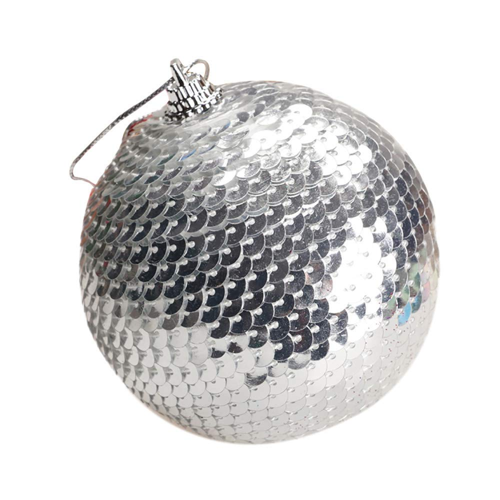 1PC Christmas Sequin Glitter Baubles Christmas Tree Ball Ornament Balls,Outsta Balls Xmas Tree Ornament Decoration for Holiday Wedding Party Christmas Decoration 3.14''/8cm (Silver)
