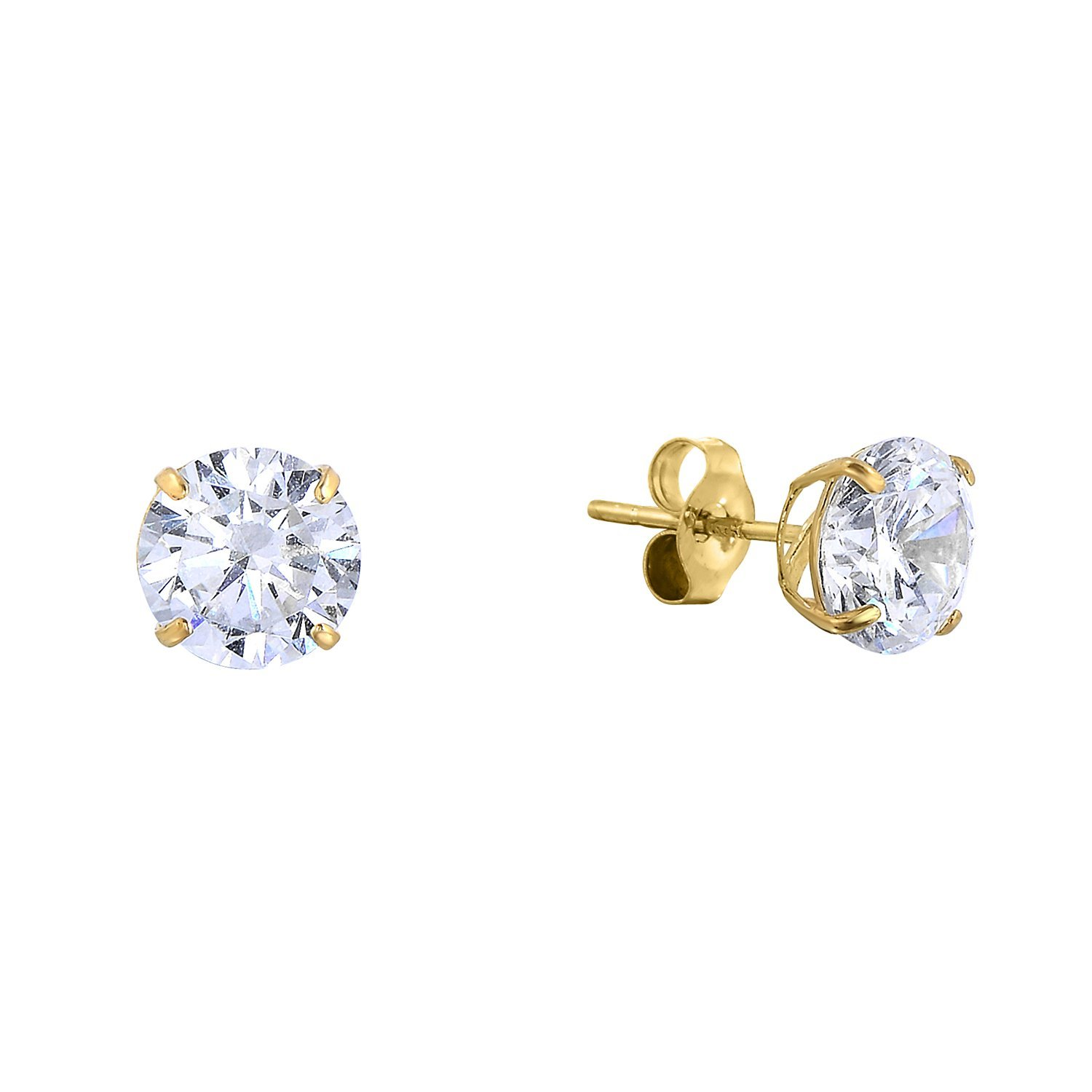 14k Yellow Gold Solitaire Round Cubic Zirconia CZ Stud Earrings with Gold butterfly Pushbacks (5mm) by Tilo Jewelry