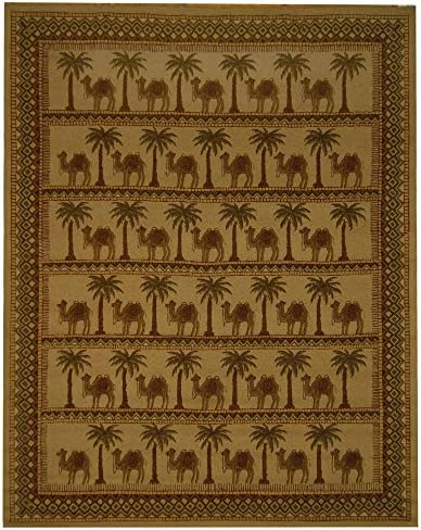 Safavieh Chelsea Collection HK42A Hand-Hooked Camel and Ivory Premium Wool Area Rug 5 3 x 8 3