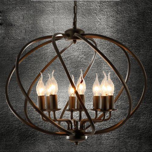 Industrial Adjustable Wrought Iron Vintage Retro Pendant Light – LITFAD 22″ Edison Metal Globe Shade Hanging Ceiling Light Cage Chandelier Pendant Lamp Fixture Black Finish with 8 Lights