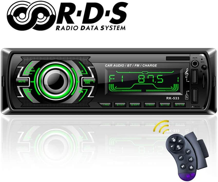 Autoradio Bluetooth, TOYOUSONIC Radio Universal para Coche FM/RDS Llamadas Manos Libres Car Stereo 7 Luces LED de Color, Carga Rapida USB/SD/AUX con Control Remoto del Volante