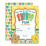 Amanda Creation Flip Flop Birthday Party Fill in Invitations Set of 20 with envelopes. Perfect for Summer Parties, Graduation, Family reunions, barbeques and More