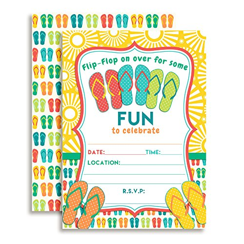 (Amanda Creation Flip Flop Birthday Party Fill in Invitations Set of 20 with envelopes. Perfect for Summer Parties, Graduation, Family reunions, barbeques and)