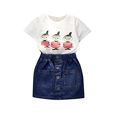 bbbc5601f94d9 Clode® for 2-7 Years Old, Baby Kids Spring Summer Girls Clothing Printing  Short Sleeve T-Shirt and Jeans Skirt Dress Set Outfits Hot Pink:  Amazon.co.uk: ...