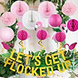 Flamingo Party Supplies Hawaiian Tropical Summer Party Decorations Luau Party Decorations Beach Birthday Decorations Gold Glitter Let's Get Flocked Up Banner Pink Flamingo Honeycomb Balls