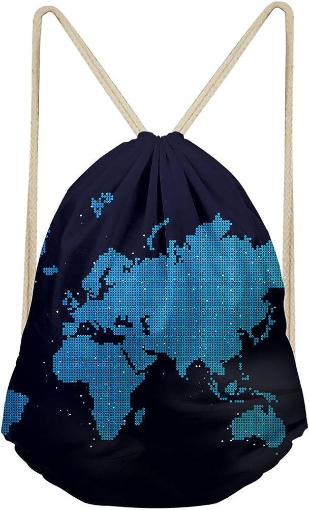 Boys Girls Bookbag Collage School Shoulder Rucksack Drawstring World Map Print