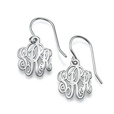 bfa3df072 Personalized Monogram Earrings - Custom Made with Any Initial (Sterling- silver)